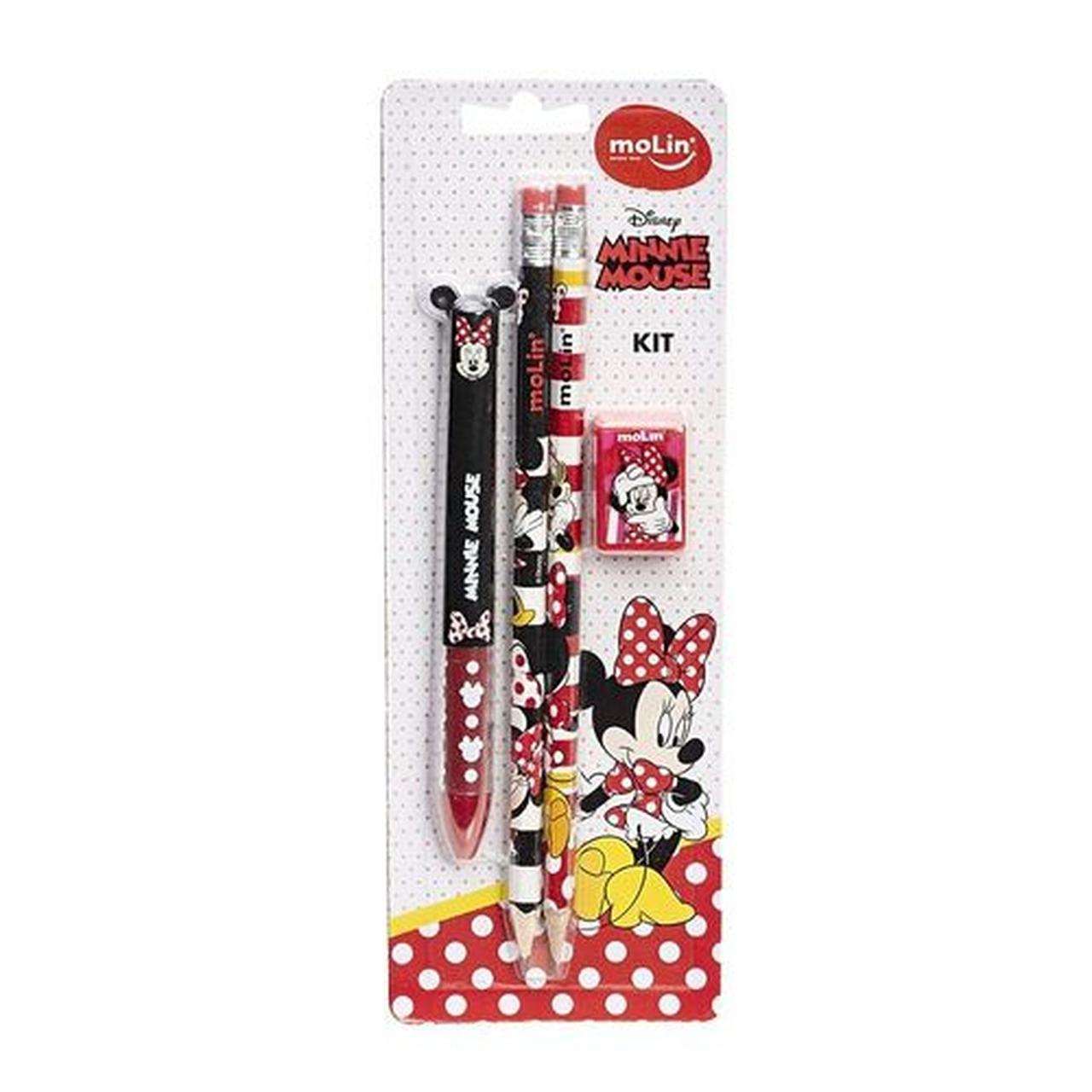 Kit Escolar Minnie Mouse Com Quatro Itens  - Molin 22326