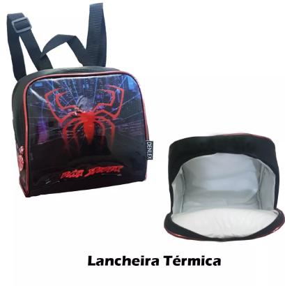 Kit Mochila Lancheira Estojo Escolar Aranha Vermelho  Dl0351