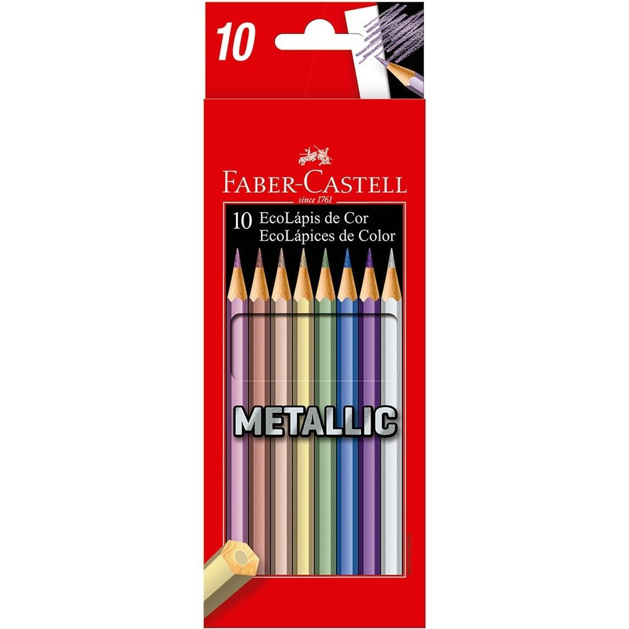 Lápis de Cor Metálico Ecolápis Com 10 Cores - Faber Castell