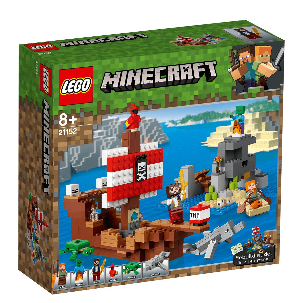 LEGO Minecraft  A Aventura do Barco Pirata 386 Pçs - 21152