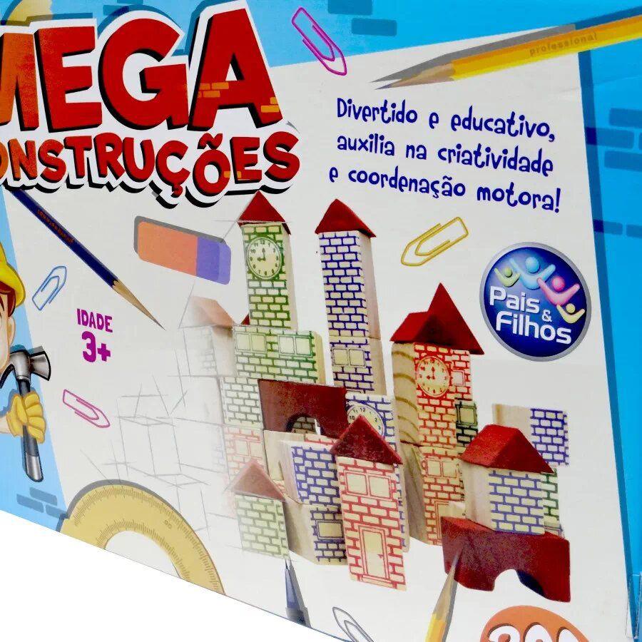 Blocos De Montar Mega Construções 200 Peças - Pais e Filhos