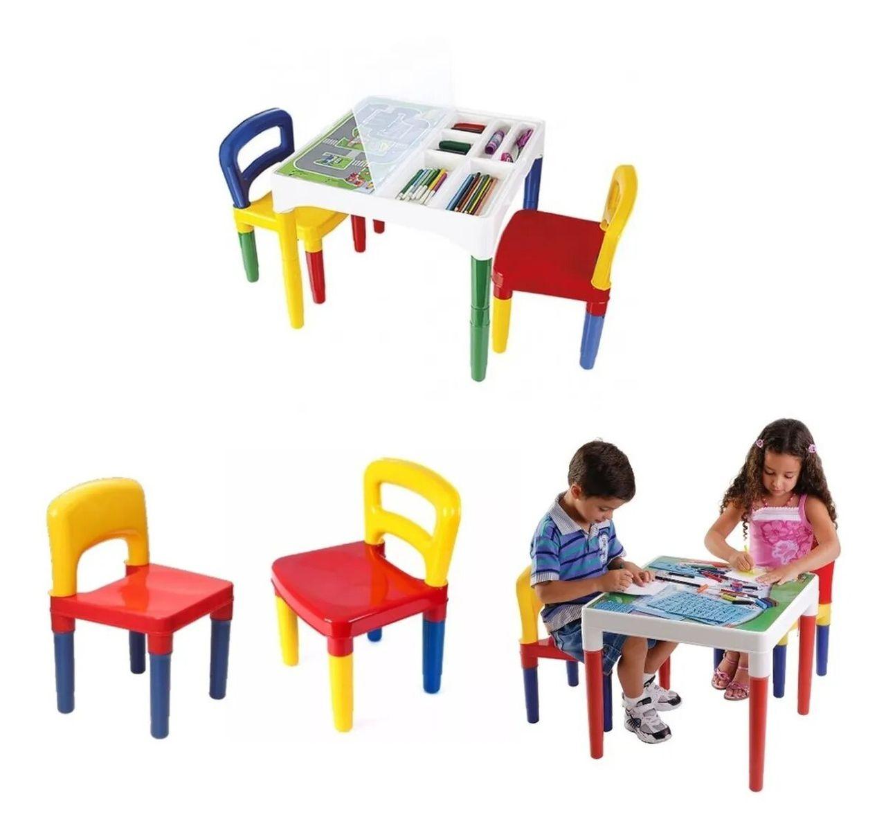 Mesinha Didática Infantil C/ 2 Cadeiras Porta Lápis Poliplac