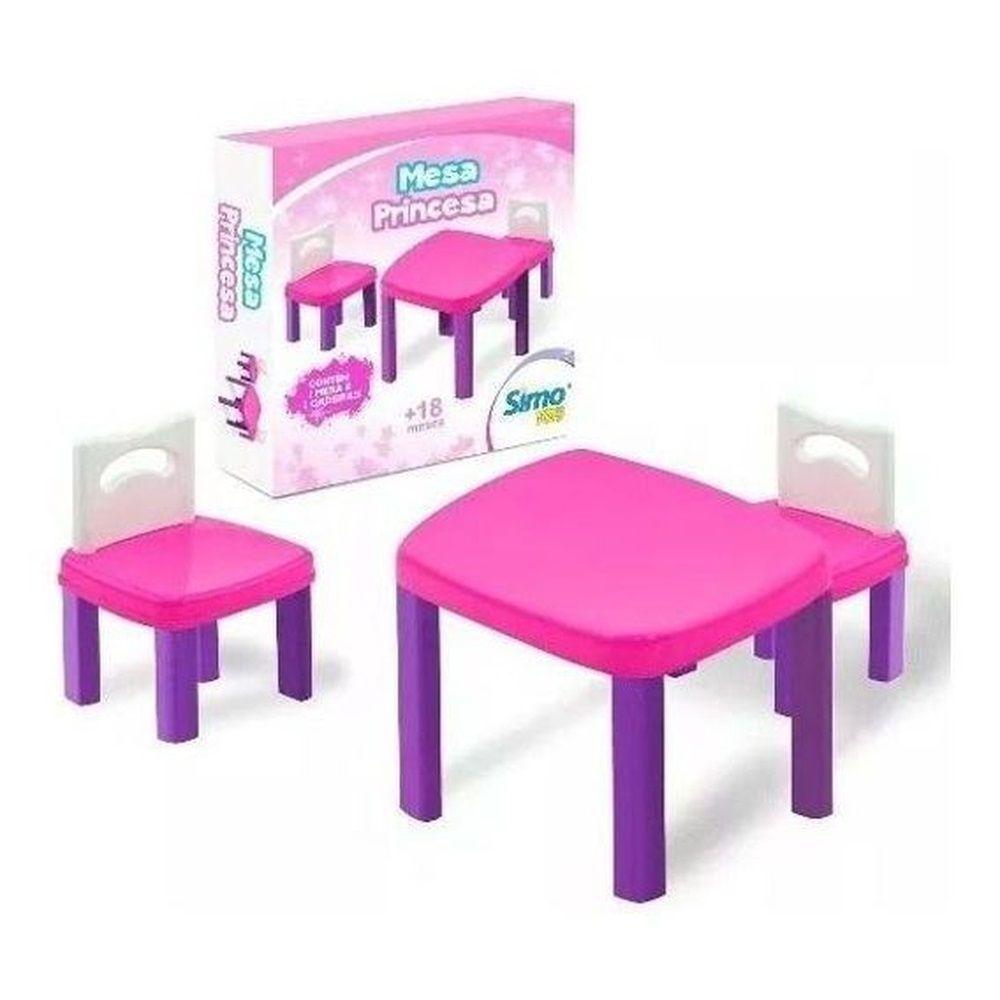 Mesinha Infantil Princesa Com 2 Cadeiras - Simo Toys