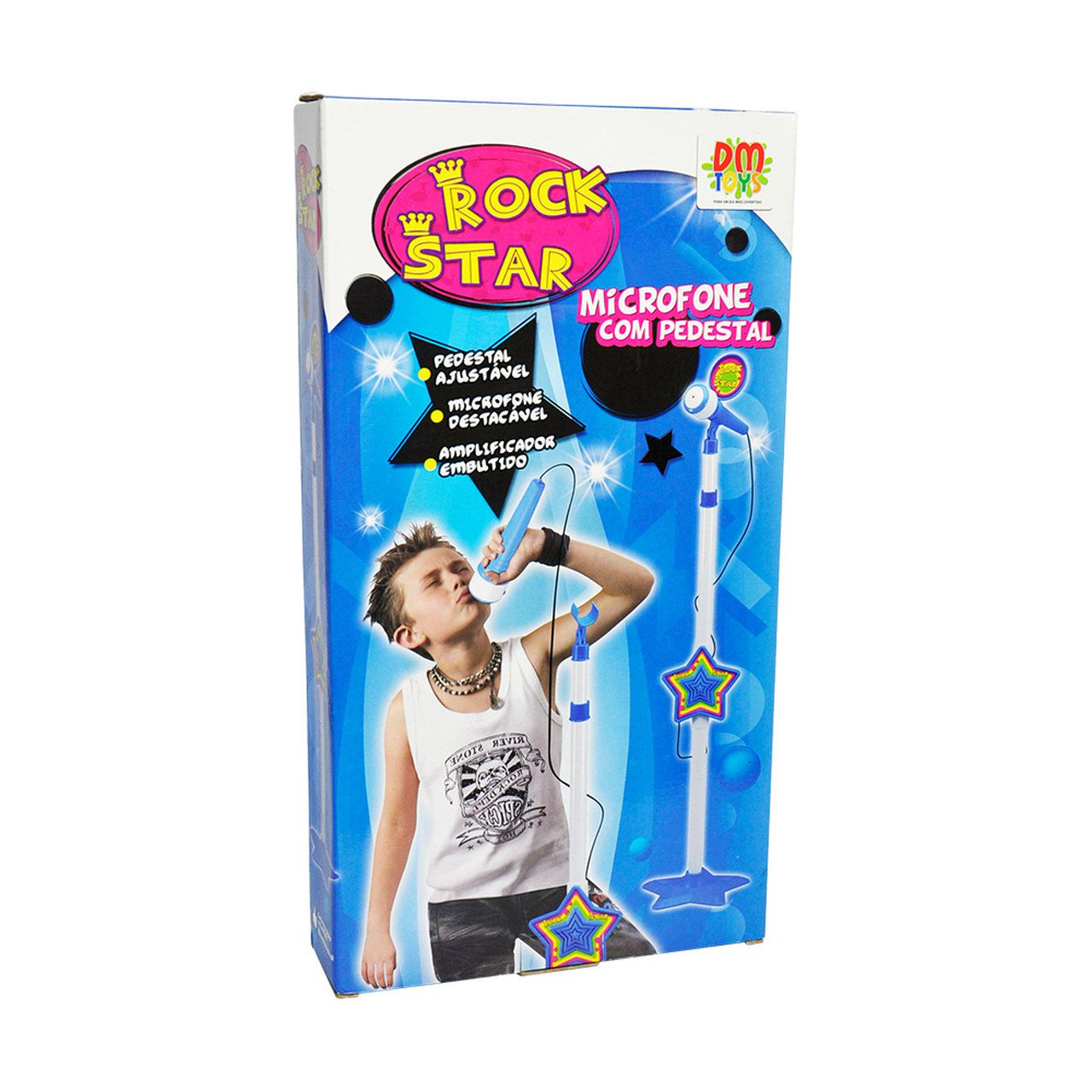 Microfone Infantil Com Pedestal Rock Star - DMToys 3837