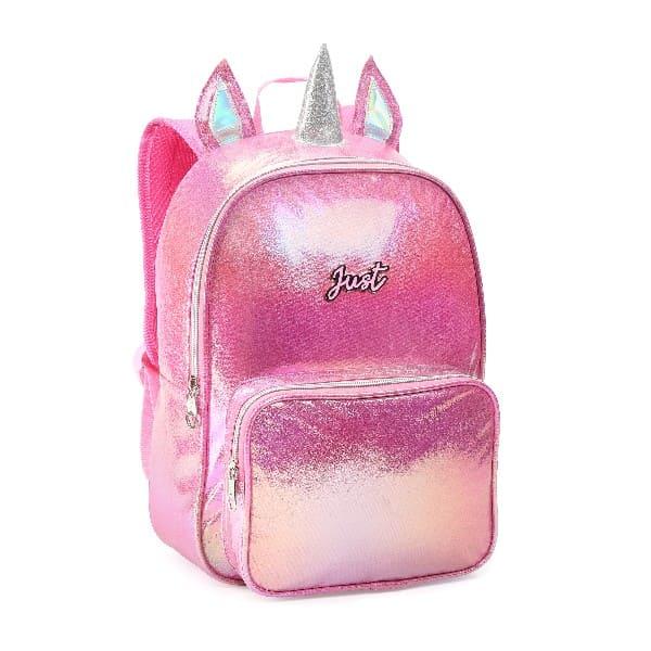 Mochila Infantil Brilho Rosa Unicornio Just - Denlex JT0657