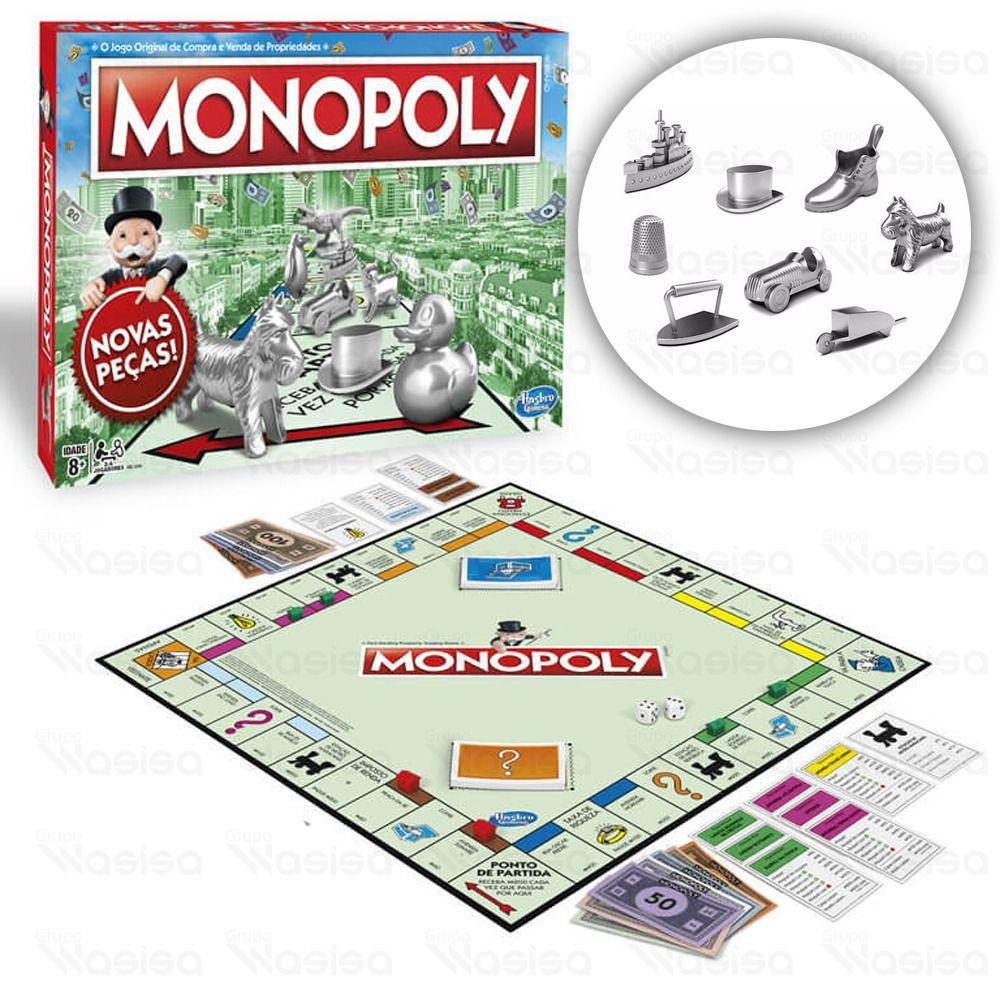 Monopoly Jogo De Tabuleiro Original Novas Peças Metal Hasbro