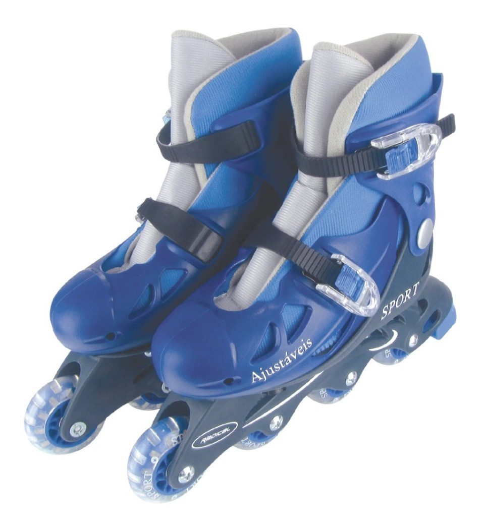 Patins Infantil In-Line Ajustável Azul do 34-37 Fênix PN01A