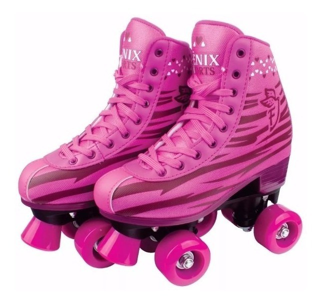 Patins Infantil Roller Skate 4 Rodas do 38-39 Rosa - Fênix
