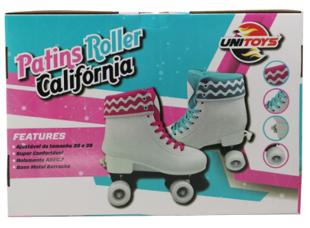 Patins Roller California Branco e Rosa Ajustavel - Unitoys