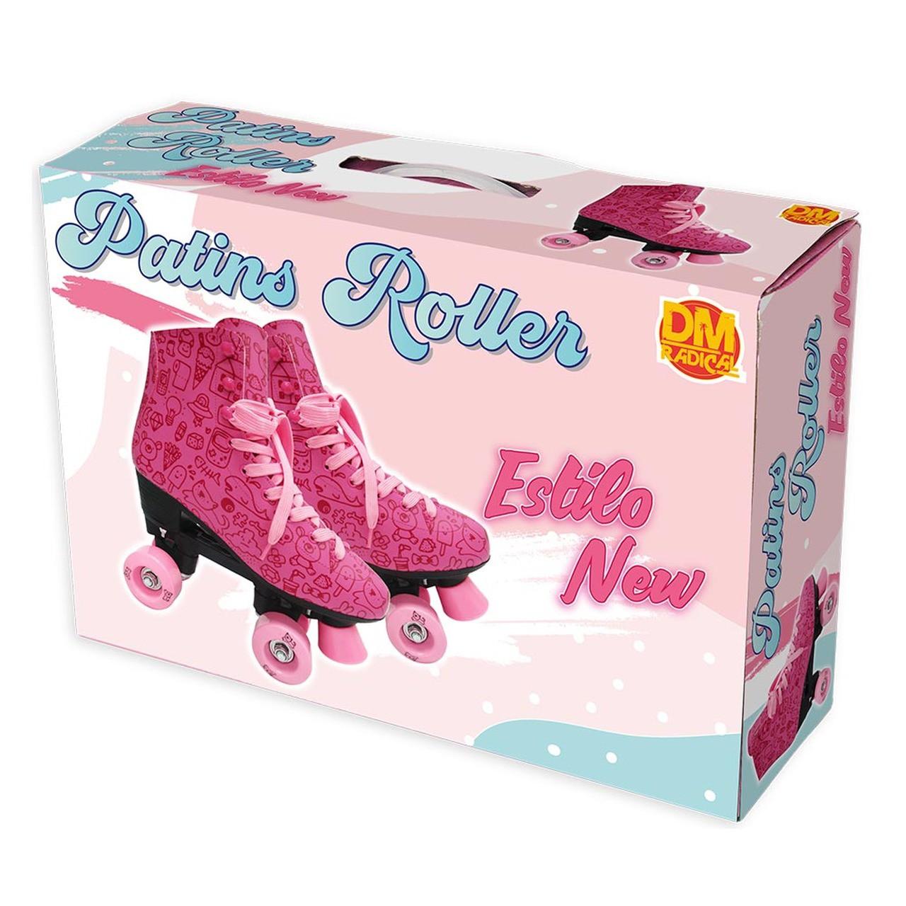 Patins Roller Estilo New Rosa Tamanho 34 - DmToys 5856