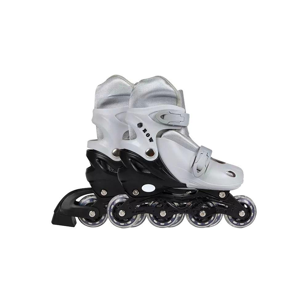 Patins Roller Infantil Cinza Regulagem De Tamanho 34 Ao 37