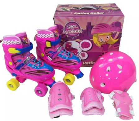 Patins Roller Kit Turma da Aventura Rosa 34 ao 38 - Unitoys
