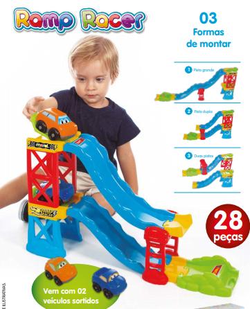Pista 2 Carrinhos Para Crianças Ramp Racer 28 Peças - Maral