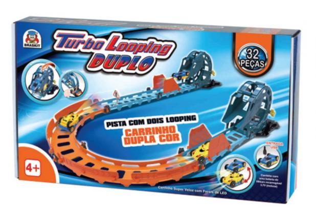 Pista De Carrinho Turbo Looping Duplo 32 Peças Braskit
