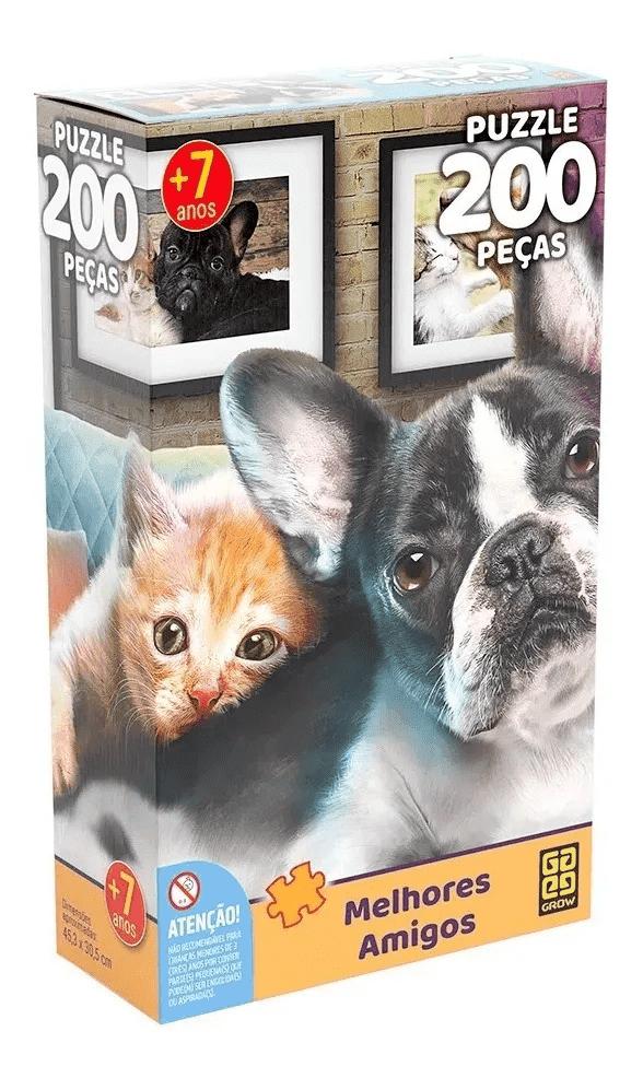 Quebra Cabeça 200 Peças Melhores Amigos Cão E Gato - Grow