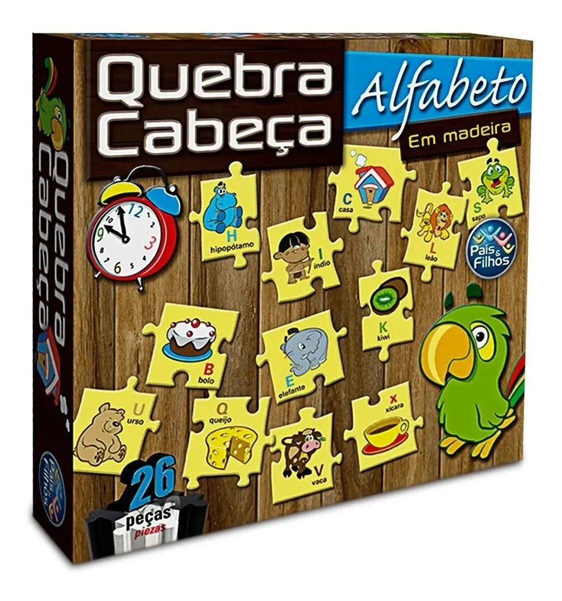 Quebra Cabeça Alfabeto em Madeira 26 Peças - Pais e Filhos
