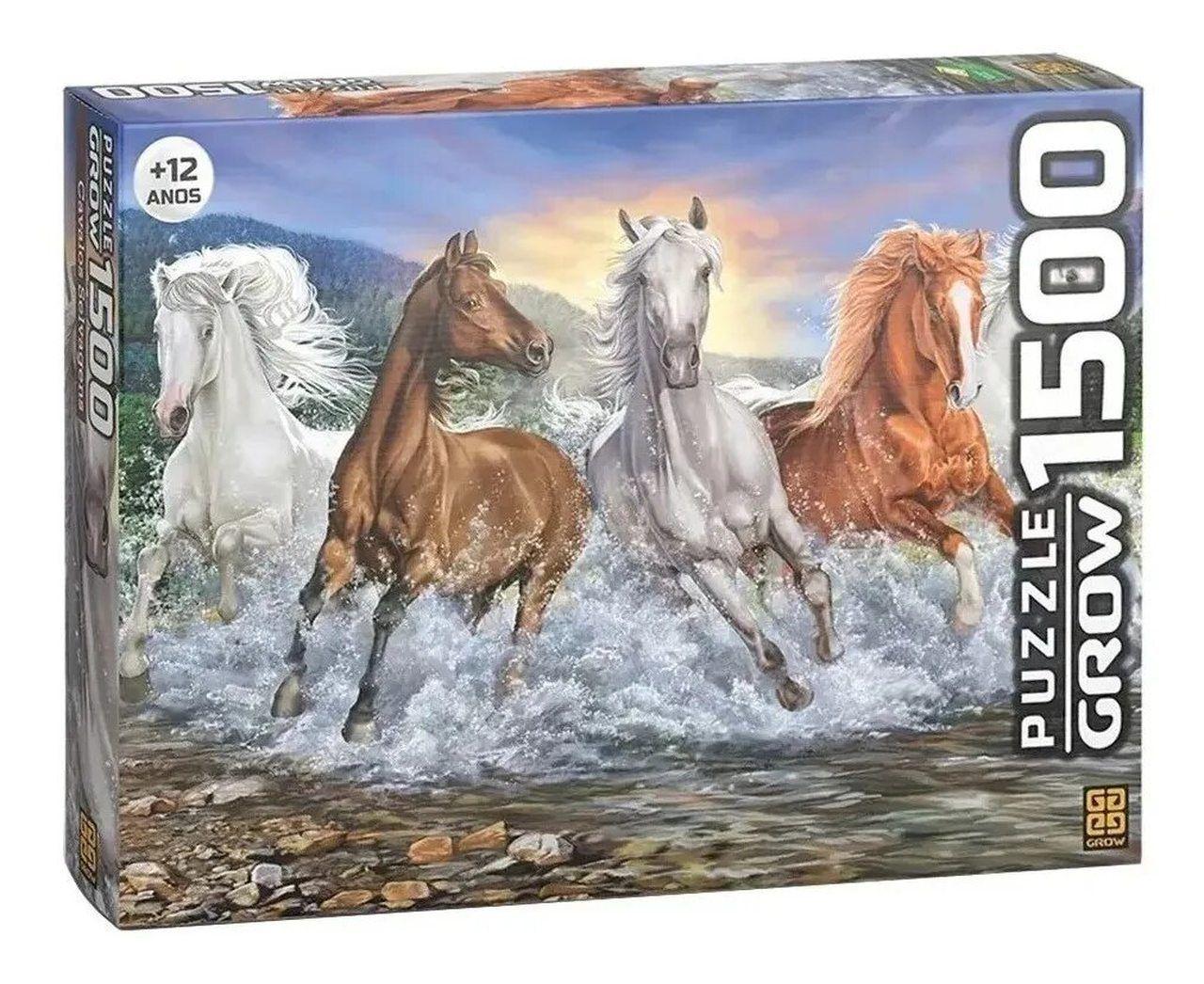 Quebra Cabeça Cavalos Selvagens 1500 Peças - Grow