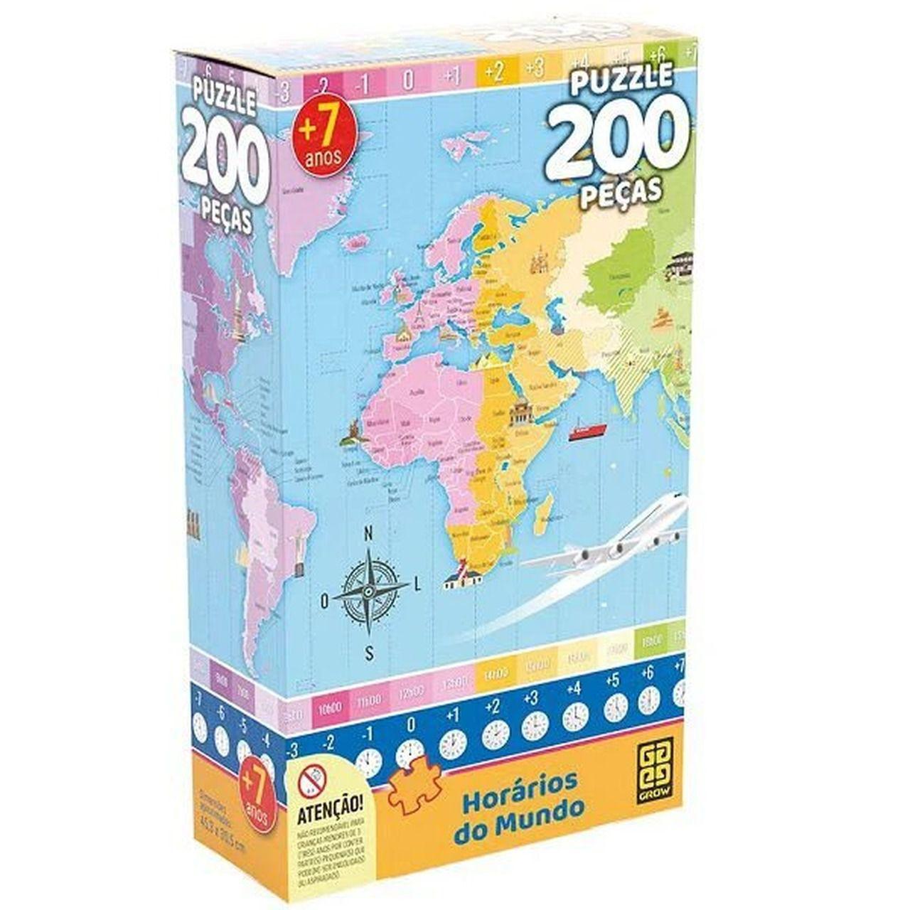 Quebra Cabeça Horários do Mundo 200 Peças - Grow 3932