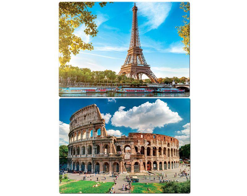 Quebra Cabeça Kit 2 Modelos Paris E Roma 1000 Peças Toyster