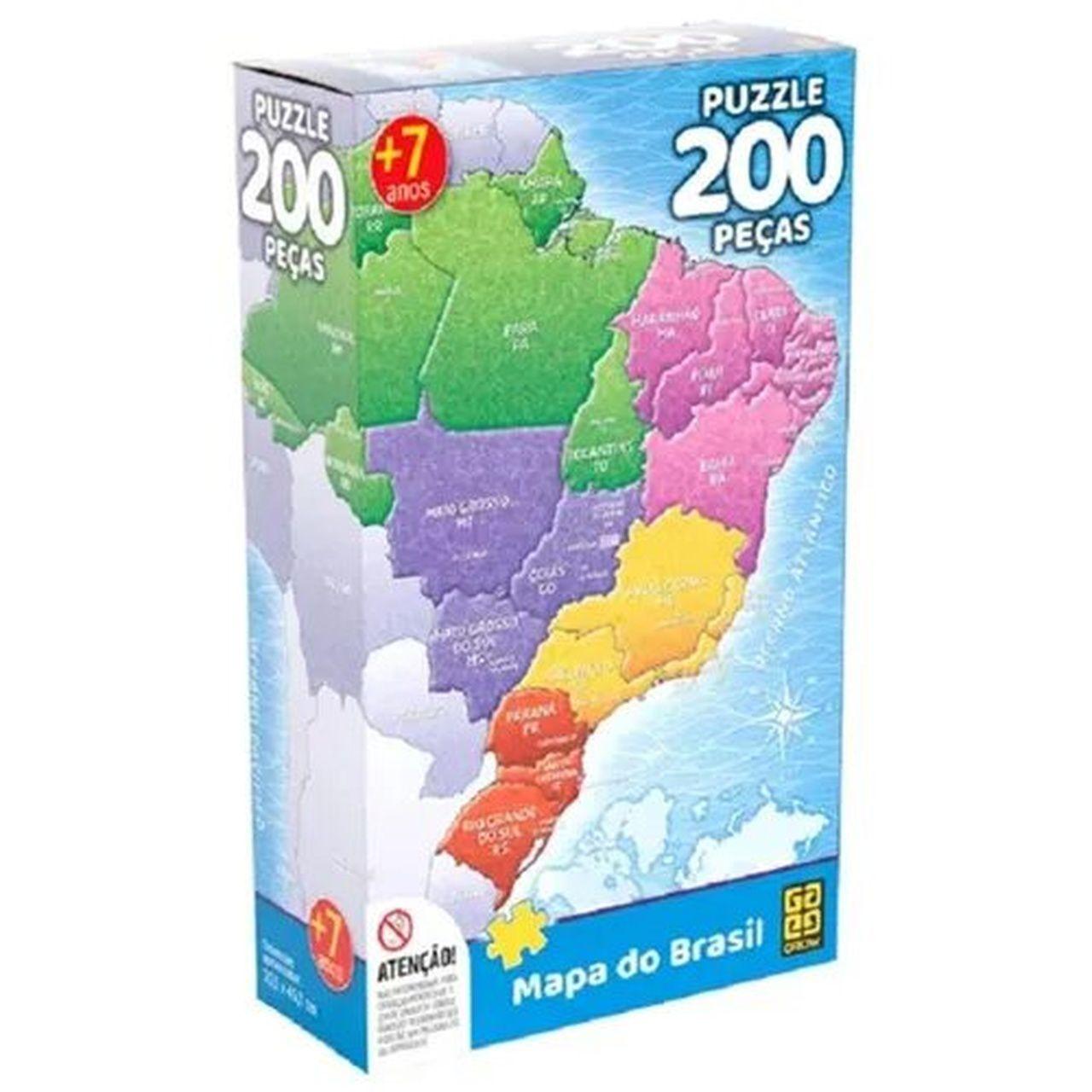 Quebra Cabeça Mapa do Brasil 200 Peças - Grow 3936