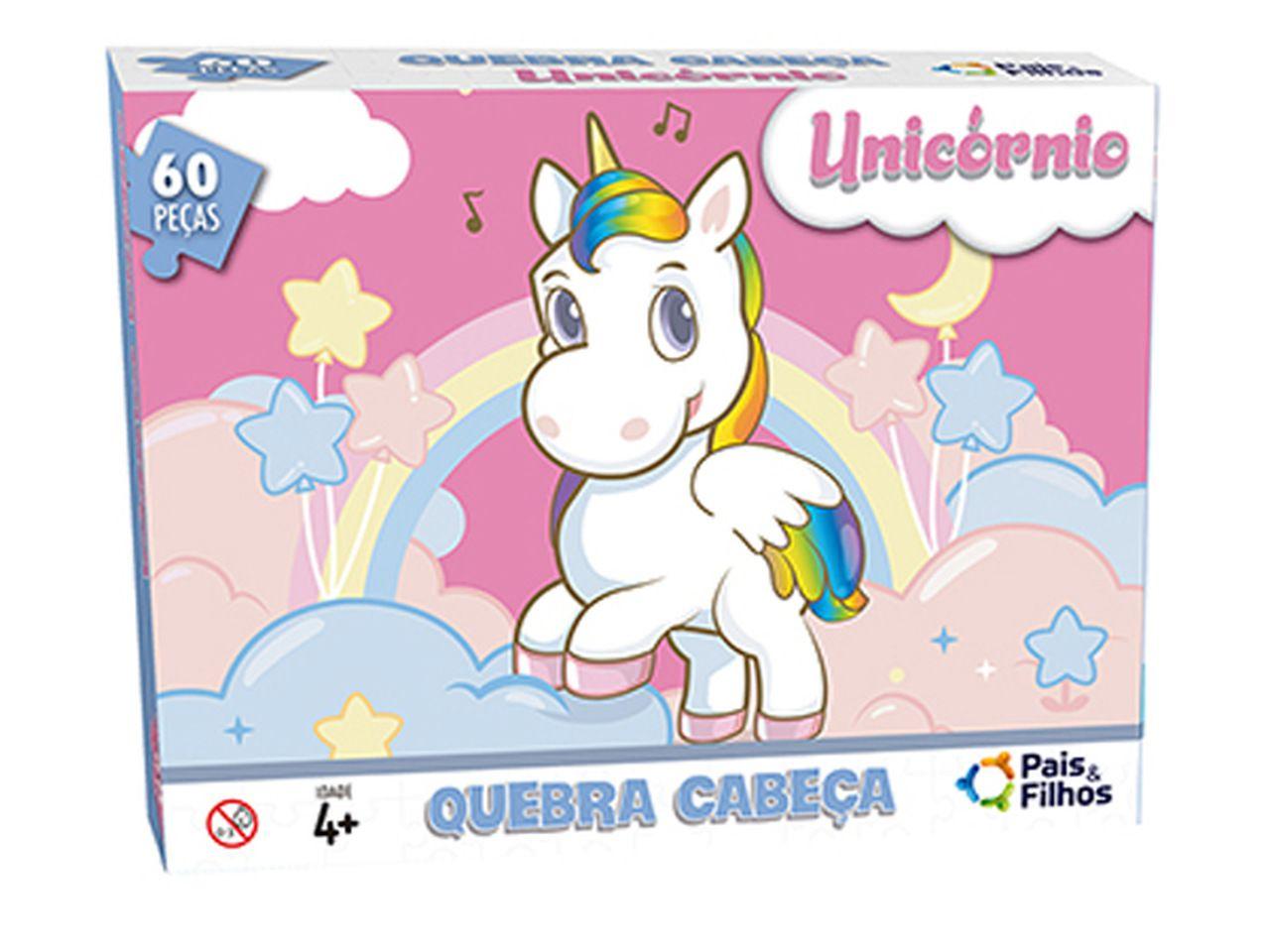 Quebra Cabeça Unicornio 60 Peças - Pais e Filhos