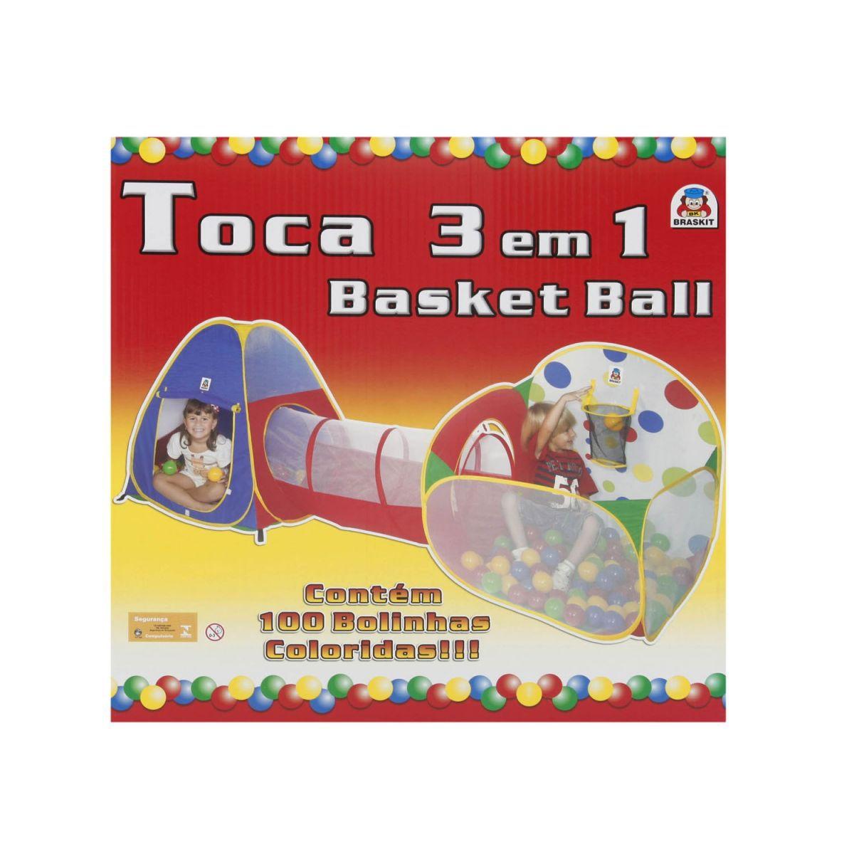 Toca 3 em 1 Basketball 100 bolinhas - Braskit 4606