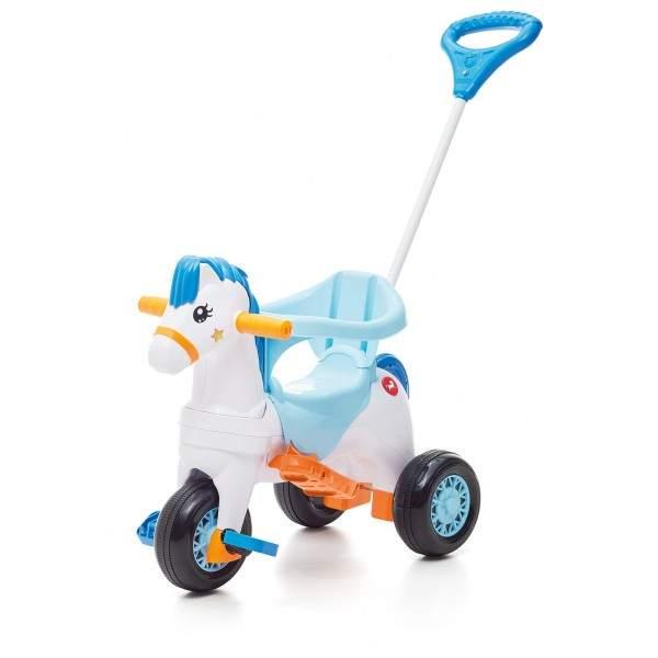 Triciclo Cavalinho Poponei Com Balanço Azul  - Tateti