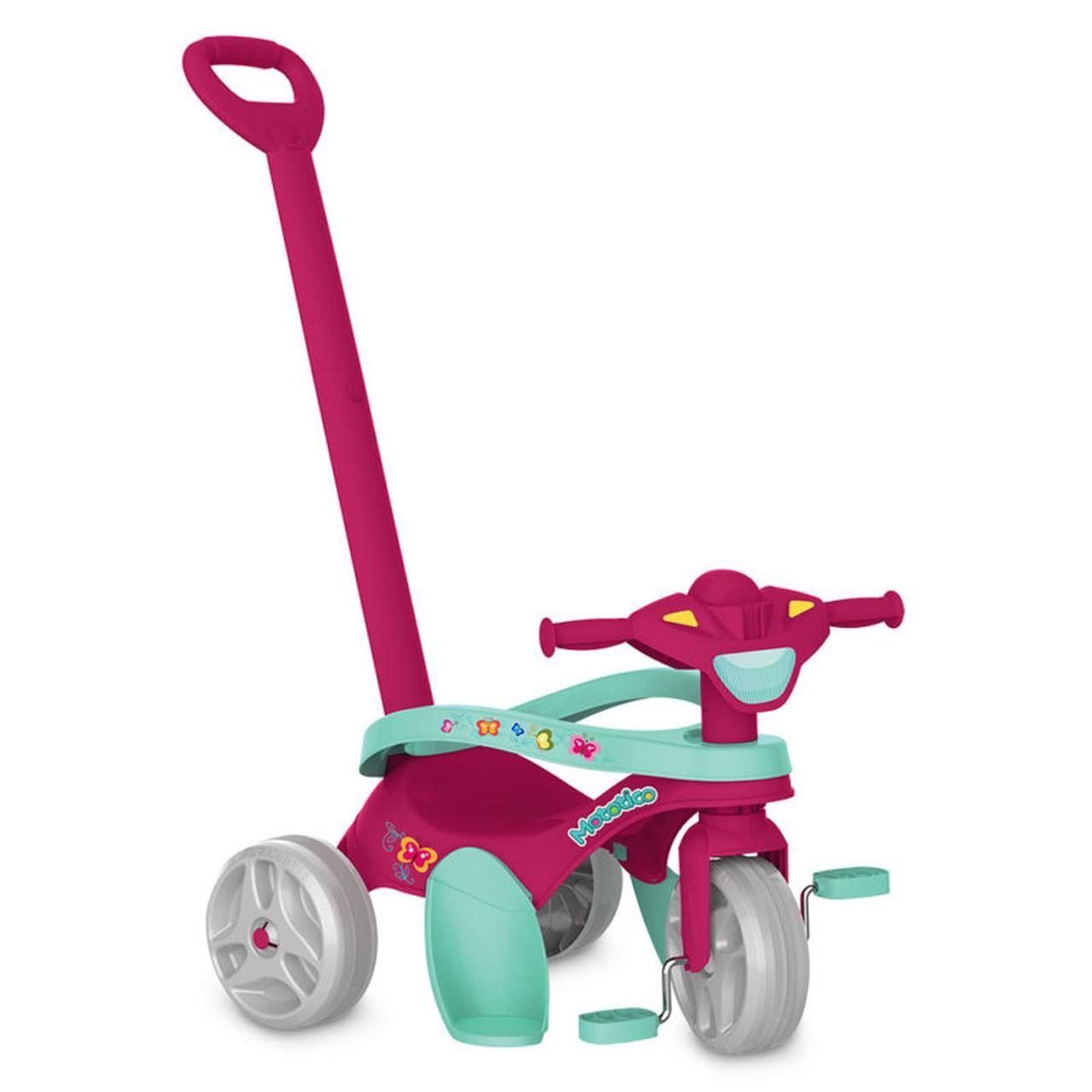 Triciclo Infantil Mototico Passeio E Pedal Rosa Bandeirante 693