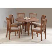 Mesa redonda com 6 cadeiras Maciças Pinhão