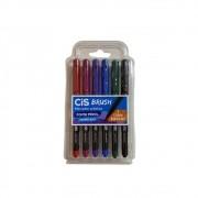 Brush Pen Cis Aquarelável c/ 6 Cores Básicas