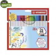 Caneta Stabilo Pen 68 Brush c/ 24 Cores