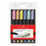 Caneta SuperSoft FC Brush c/ 6 Cores Pastel