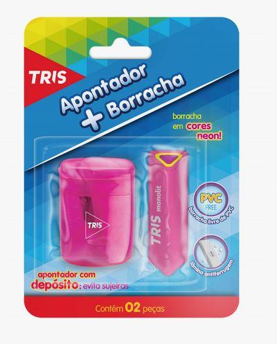 Apontador + Borracha Tris Trio  - Papel Pautado