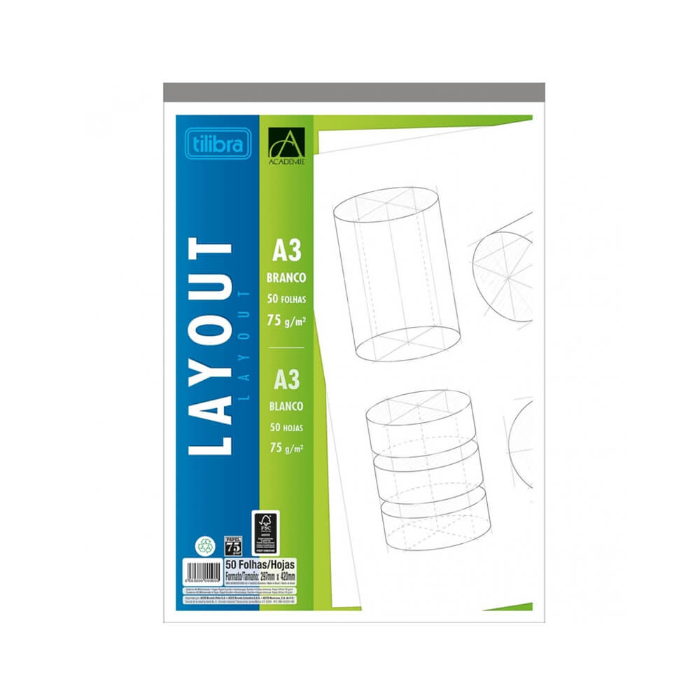 Bloco Layout A3 Tilibra  - Papel Pautado
