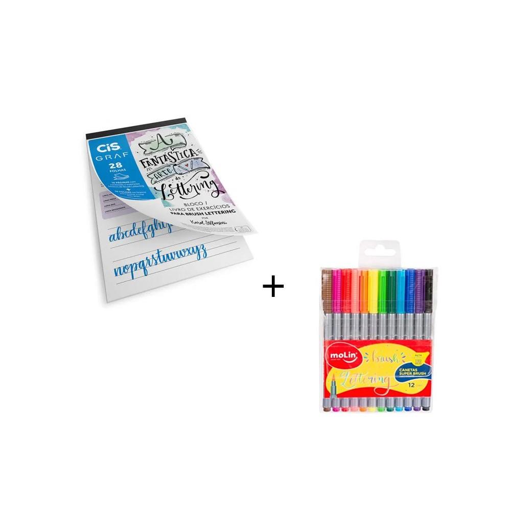Bloco Lettering Cis + Caneta Super Brush Molin  - Papel Pautado