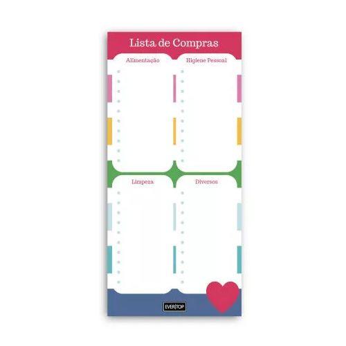 Bloco Lista de Compras Color Evertop  - Papel Pautado