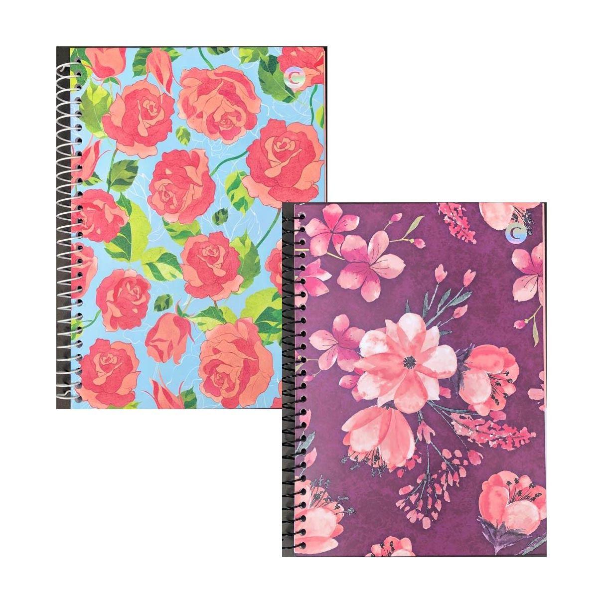 Caderno Colegial 1 Matéria Floral  - Papel Pautado