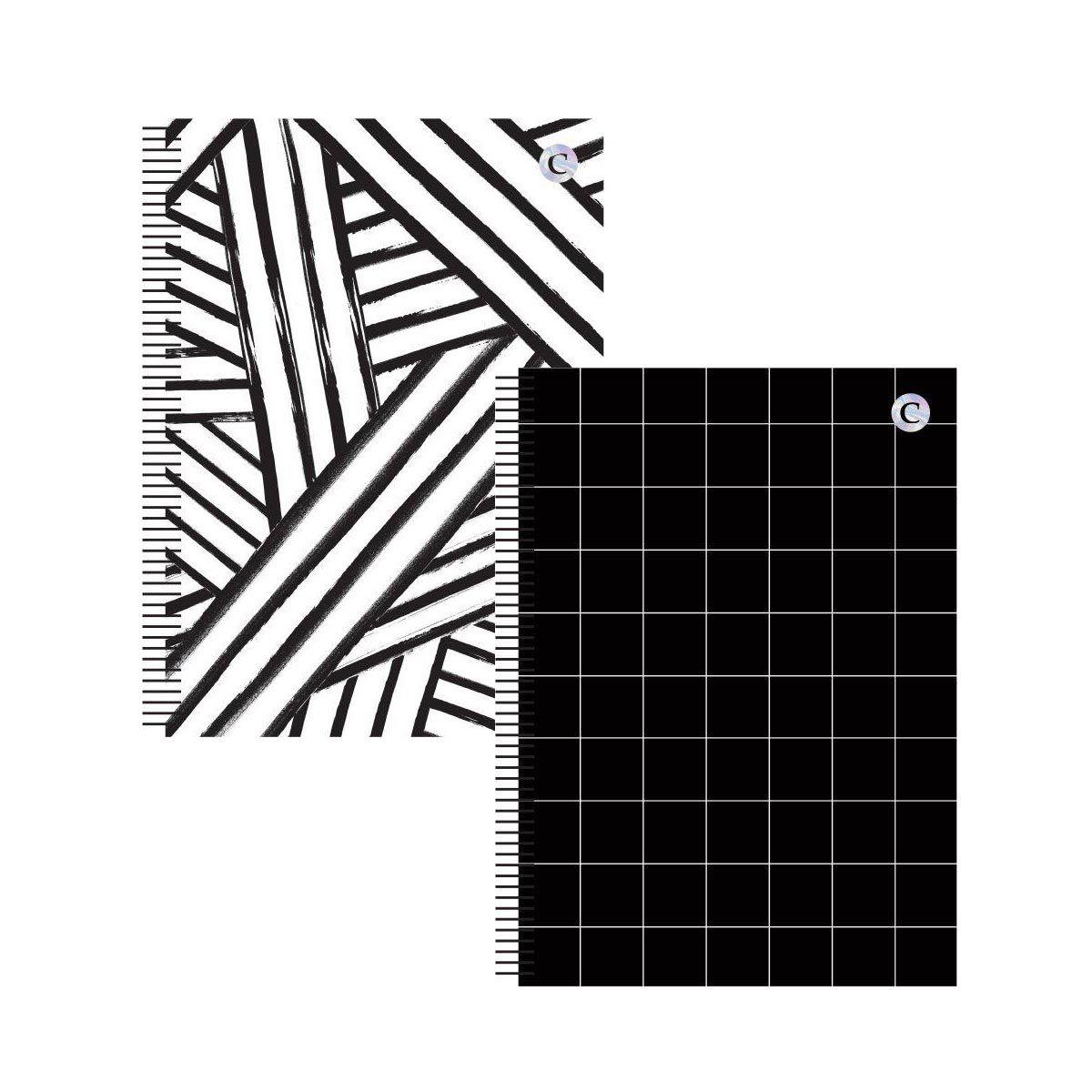 Caderno Colegial 1 Matéria P&B  - Papel Pautado