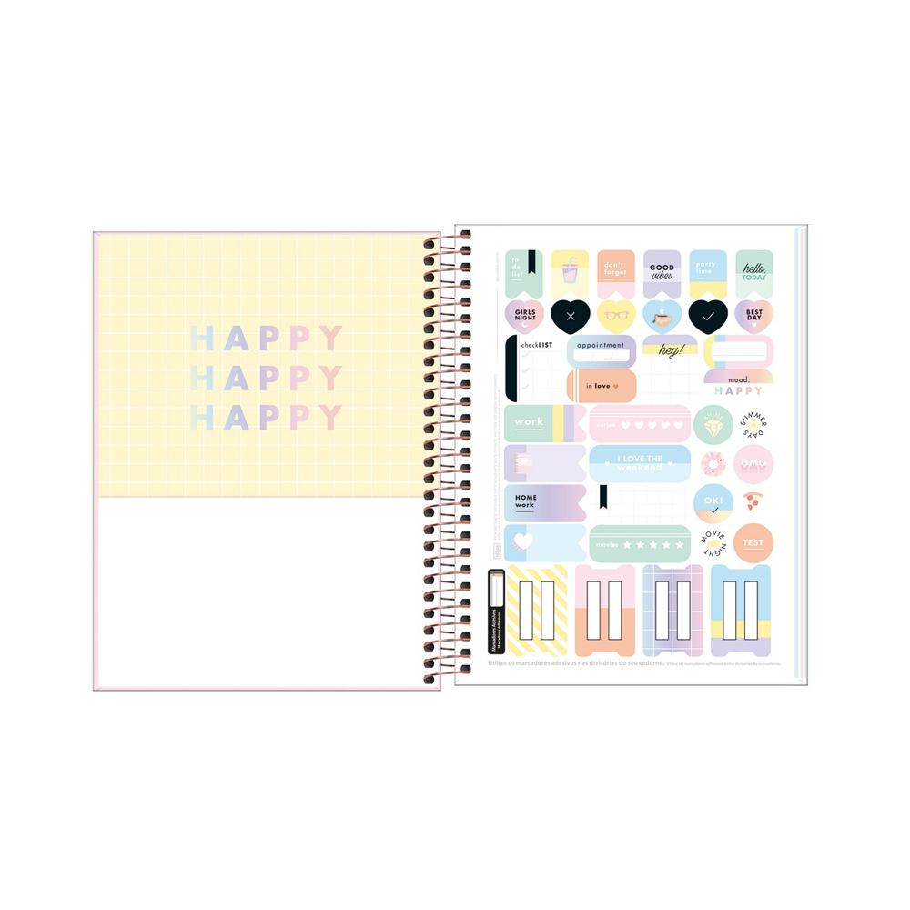 Caderno Colegial Happy Color Tilibra 1 Matéria  - Papel Pautado