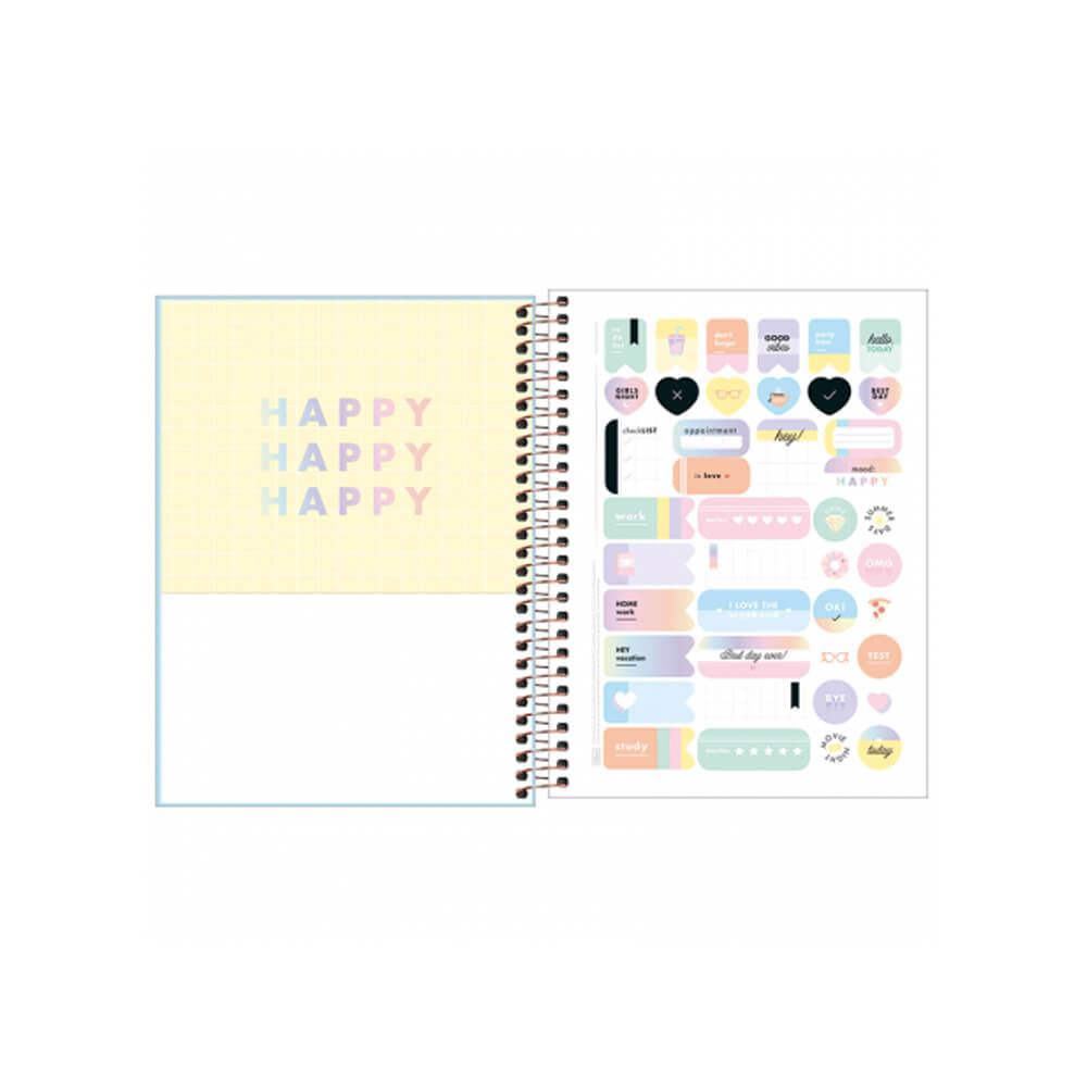 Caderno Colegial Happy Tilibra 10 Matérias CPP  - Papel Pautado