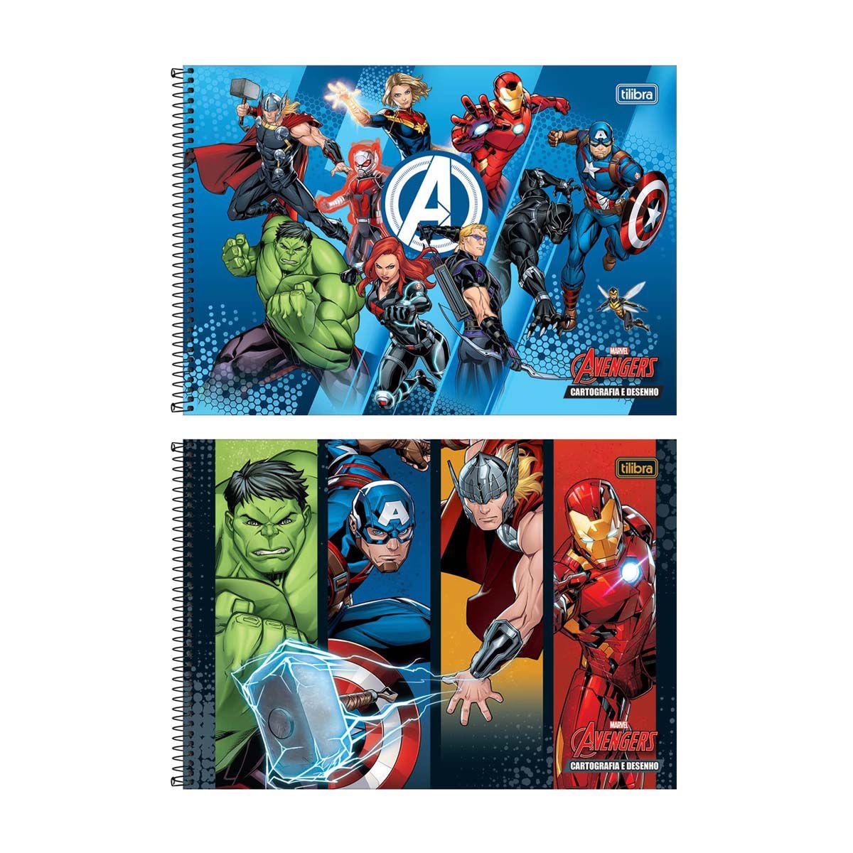Caderno de Desenho Avengers Tilibra 80 Folhas  - Papel Pautado