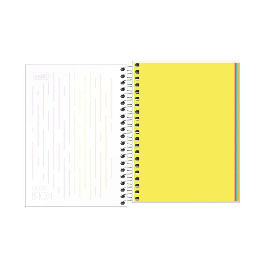 Caderno Espiral Neon Kori 1/4 80 Folhas Tilibra  - Papel Pautado