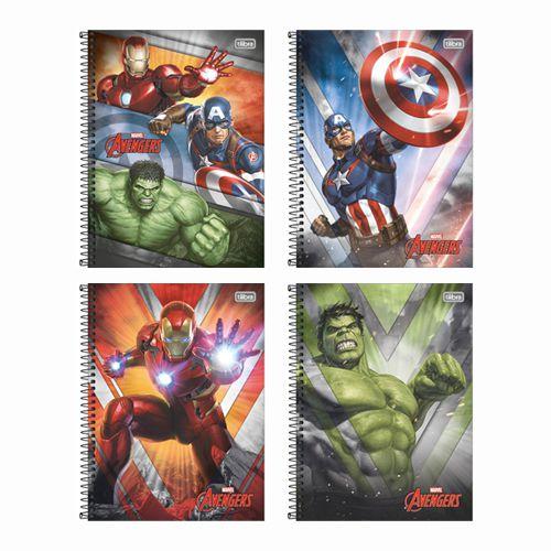 Caderno Univ.  Avengers Tilibra 1 Matéria  - Papel Pautado