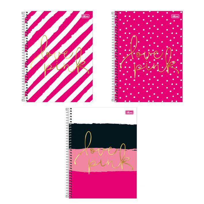 Caderno Universitário 12 Matérias Love Pink