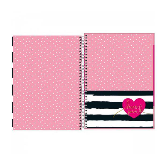 Caderno Universitário 12 Matérias Love Pink  - Papel Pautado
