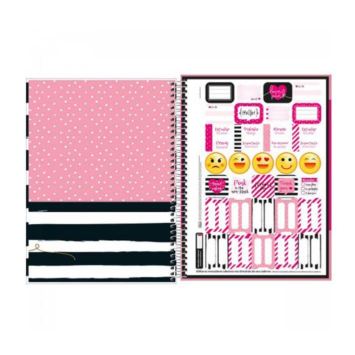 Caderno Universitário 16 Matérias Love Pink  - Papel Pautado