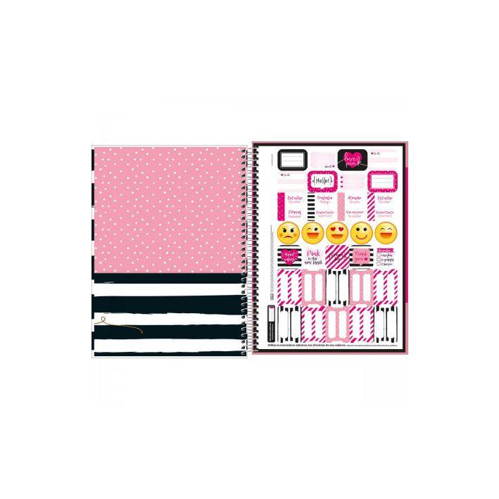 Caderno Universitário 1 Matéria Love Pink  - Papel Pautado