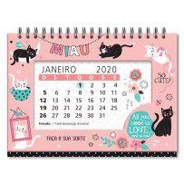 Calendário de Mesa Gatos 2020  - Papel Pautado