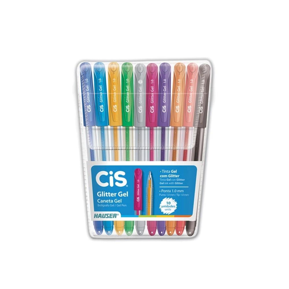 Caneta Cis Glitter Gel c/ 10 Cores   - Papel Pautado
