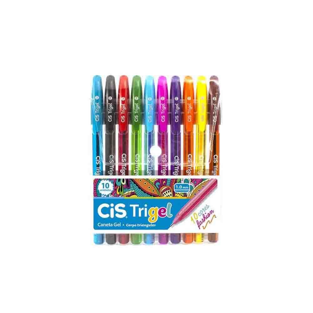 Caneta Cis Trigel Fashion 1,0mm c/ 10 Cores  - Papel Pautado